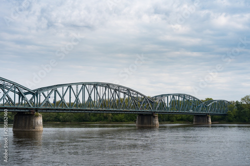 Spoed Foto op Canvas Brug Truss road bridge over Vistula river in Torun, Poland.
