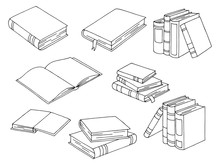 Books Set Graphic Black White Isolated Sketch Illustration Vector