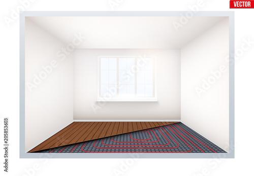 presentation of floor heating system empty room with heating floor