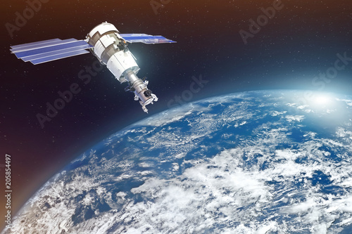 Deurstickers Nasa Research, probing, monitoring of in atmosphere. Satellite above the Earth makes measurements of the weather parameters. Elements of this image furnished by NASA.