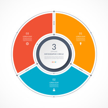 Infographic Circle In Thin Line Flat Style. Business Presentation Template With 3 Options, Parts, Steps. Vector Illustration