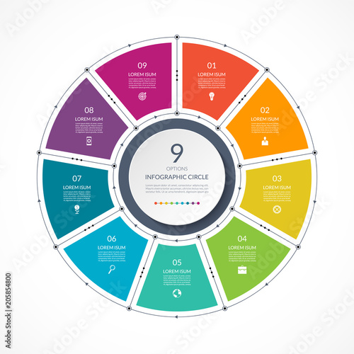 Papel de parede  Infographic circle in thin line flat style