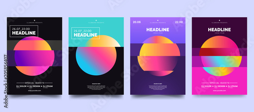 Obraz Vector colorful glitch poster set. Circle shape with modern Tv distortion effect. Abstract geometric background with vhs glitch effect. Applicable for banner design, cover, invitation, party flyer. - fototapety do salonu
