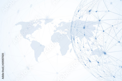 Fotografía Global network connections with world map