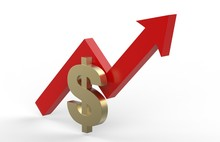 Increase In Dollar Value Concept, Golden Dollar Sign With A Rising Arrow, 3d Illustration