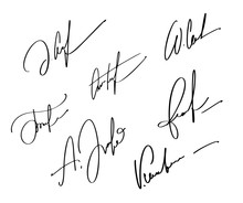 Manual Signature For Documents On White Background. Hand Drawn Calligraphy Lettering Vector Illustration EPS10