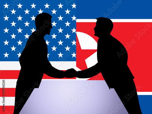 Photo North Korean And US Diplomatic Hand Shake 3d Illustration
