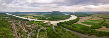 Panoramic Aerial View Of Old Fort On Danube River. Devin