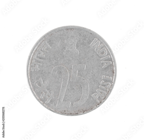 Poster  Indian Currency or Indian old Coin 25 Paise 1994 isolated on White Background