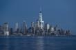 Manhattan Skyline over Hudson river at twilight time in New York City