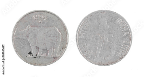 Tela  Indian Currency or Indian old Coin 25 Paise 1994 isolated on White Background