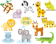 Cute Cartoon African Animals Set. Monkey, Rhion, Lion And Other Savannah Wildlife For Kids And Children
