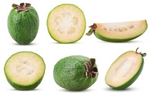 Set Tropical Fruit Feijoa Whole, Cut In Half, Slice
