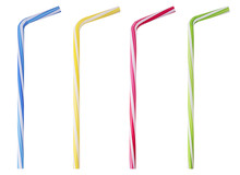 Four Drinking Straw Pink, Blue, Yellow, Green Striped