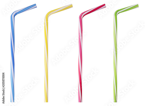 Photo Four drinking straw pink, blue, yellow, green striped