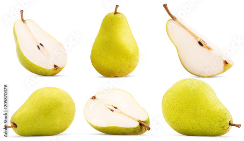 Vászonkép Set fresh pears whole, cut in half, quarter