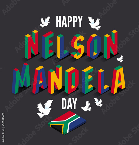 Fotografie, Tablou Vector illustration for happy International Nelson Mandela Day.