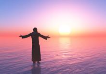 Jesus Walking On Water.3d Render