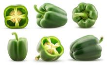 Set Green Bell Pepper Cut In H...