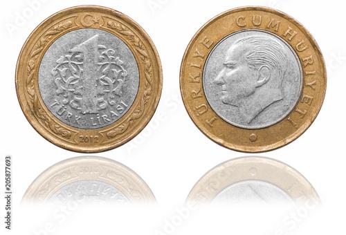 Fotografía  One lira coin. Turkey. 2012