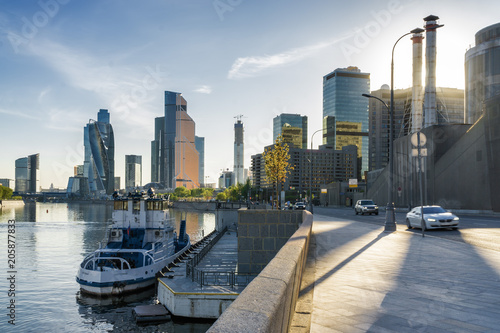Staande foto Stad gebouw Sunny view of Smolenskaya embankment and Moskva river, Moscow, Russia.