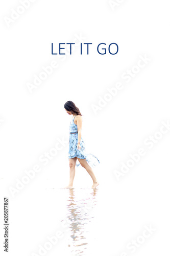 Inspirational quote about separations with the text let it go Wallpaper Mural