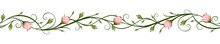 Vector Horizontal Seamless Background With Pink Rosebuds.