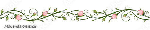 Cotton fabric Vector horizontal seamless background with pink rosebuds.