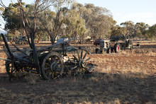 Quorn South Australia, Field Of Obsolete Farming Equipment Left To Rust In The Afternoon Light