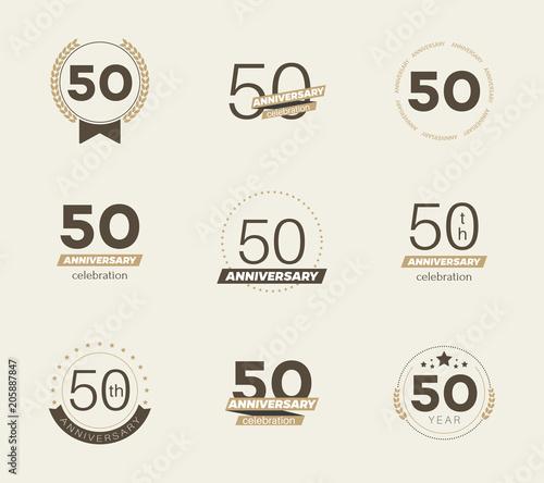 50 years anniversary logo set. Vector illustration. Wallpaper Mural