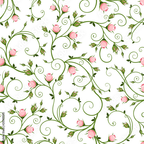 vector-seamless-floral-pattern-with-pink-rosebuds-on-a-white-background