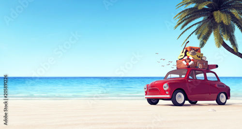 Poster Vintage voitures Car with luggage on the roof on the beach ready for summer vacation 3D Rendering