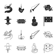 Korean In National Headdress, Korean Monastery, Buddha Figurine, National Flag. South Korea Set Collection Icons In Black,outline Style Vector Symbol Stock Illustration Web.