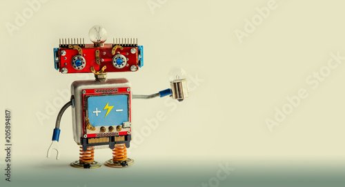 Smiling red robot with light bulb in hand Wallpaper Mural