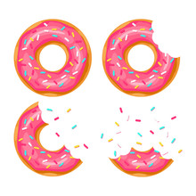 Whole Donut And Half-eaten Donut With Pink Glaze. Vector Illustration