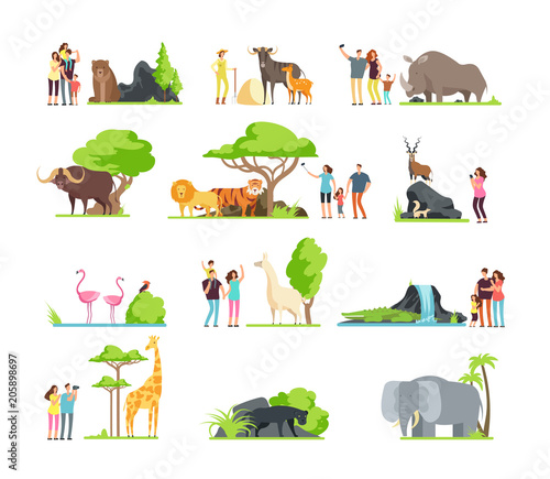 Happy families, kids with parents and wild zoo animals in wildlife park. Vector cartoon set isolated on white background