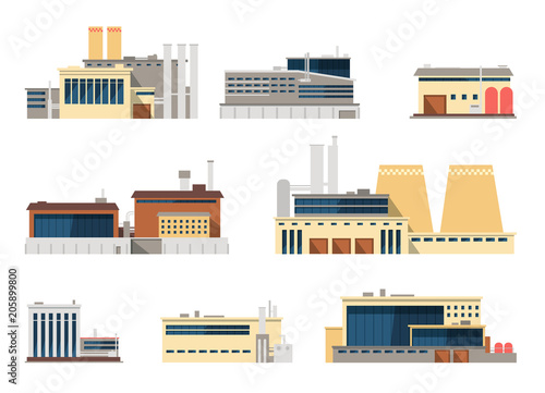 Fotografía  Industrial factory and manufacturing plant exterior flat vector icons for indust