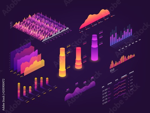 Obraz Futuristic 3d isometric data graphic, business charts, statistics diagram and infographic vector elements - fototapety do salonu