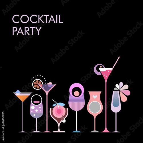 Staande foto Abstractie Art Cocktail Party vector banner design