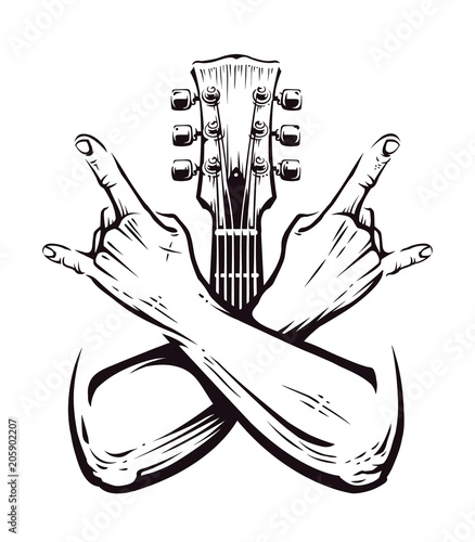 rokowy-symbol-gitara-ilustracja