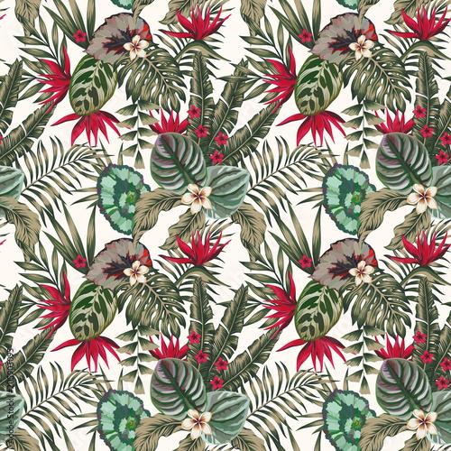 Materiał do szycia Egzotycznych roślin pozostawia kwiaty koloru abstrakcja bezszwowe