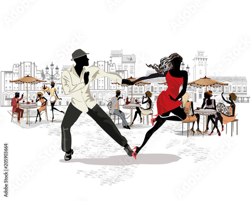 Fototapety Taniec  hand-drawn-vector-architectural-background-with-historic-buildings-and-people-romantic-couple-in-passionate-latin-american-dances-salsa-festival