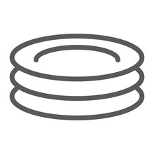 Plates Line Icon, Kitchen And Cooking, Dishes Sign