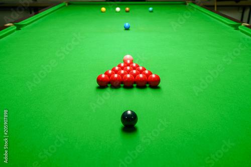 Obraz na plátně Snooker balls on green snooker table