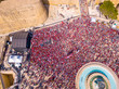 Celebrating labour day in Valletta, Malta. Aerial view on the people crowd celebrating workers day on the 1st of May.