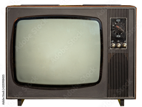 Papel de parede old 1960s tv isolated on white background