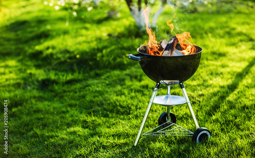 Aluminium Prints Grill / Barbecue Barbecue Grill with Fire on Nature