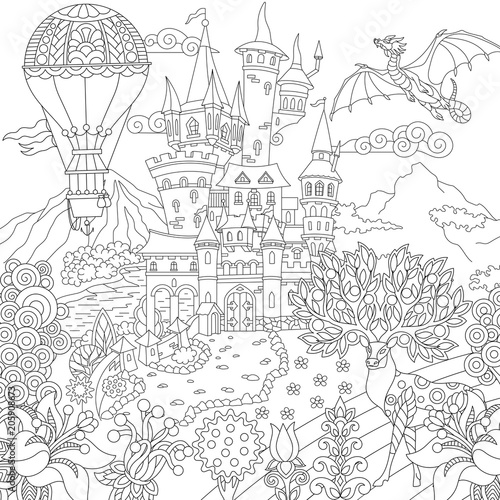 Fairy Tale Picture Fairytale Landscape With Vintage Castle Dragon Magic Deer Hot Air Balloon Coloring Page Adult Coloring Book Idea Buy This Stock Vector And Explore Similar Vectors At Adobe Stock