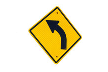Left Curved Arrow Symbol Traffic With White Background
