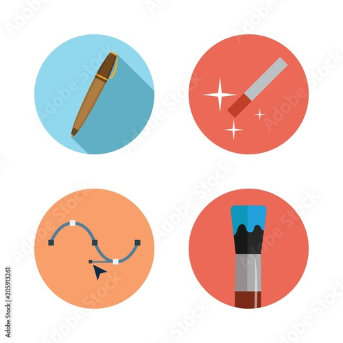 Fotografie, Obraz  Icons Design with magic wand, paint brush, pen and vector